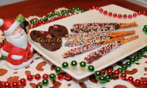 Bretzel e sticks al cioccolato
