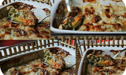 Fiori di zucchina gratinati noci e gorgonzola