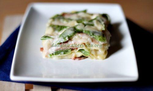 Lasagne con taccole e speck