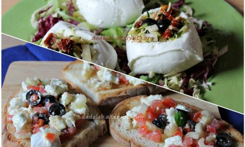 Cestini di mozzarella e crostini mediterranei
