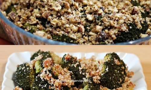 Broccoli con crumble di nocciole
