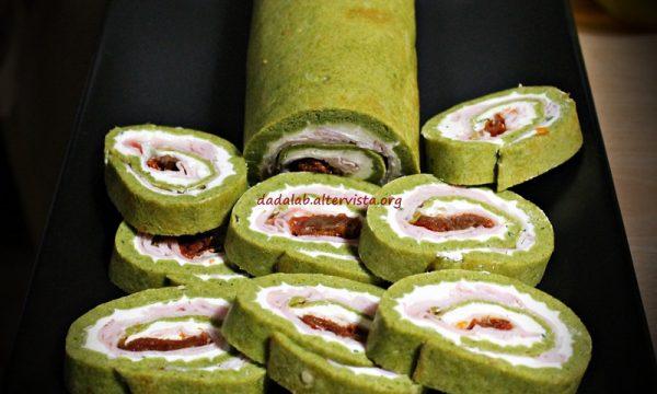 Rotolo salato agli spinaci farcito